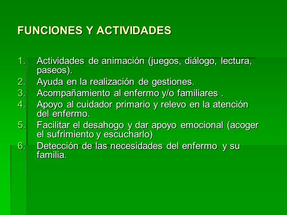FUNCIONES Y ACTIVIDADES 1.Actividades de animación (juegos, diálogo, lectura, paseos). 2.Ayuda en la realización de gestiones. 3.Acompañamiento al enf