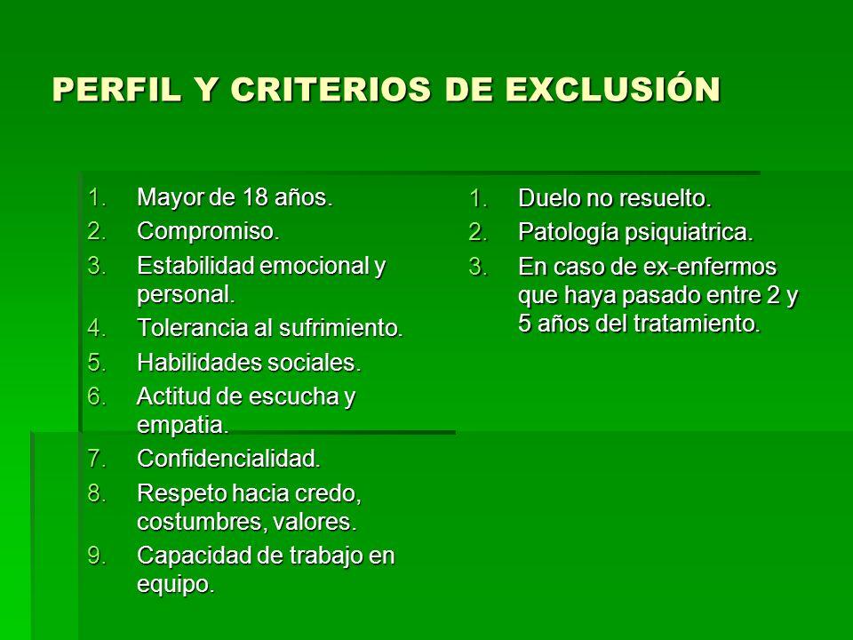 PERFIL Y CRITERIOS DE EXCLUSIÓN 1.Mayor de 18 años.