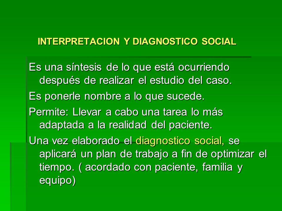 INTERPRETACION Y DIAGNOSTICO SOCIAL INTERPRETACION Y DIAGNOSTICO SOCIAL Es una síntesis de lo que está ocurriendo después de realizar el estudio del caso.