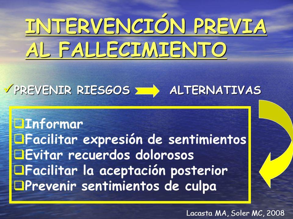 INTERVENCIÓN PREVIA AL FALLECIMIENTO PREVENIR RIESGOS ALTERNATIVAS PREVENIR RIESGOS ALTERNATIVAS Informar Facilitar expresión de sentimientos Evitar r