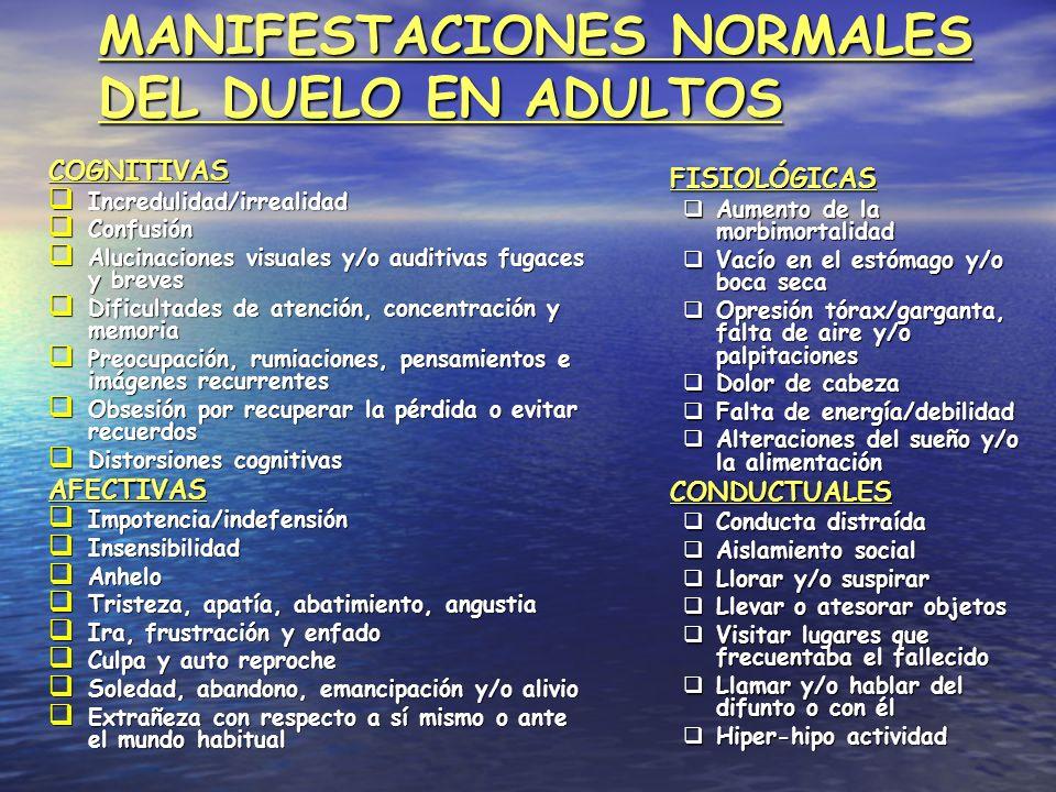 MANIFESTACIONES NORMALES DEL DUELO EN ADULTOS COGNITIVAS Incredulidad/irrealidad Incredulidad/irrealidad Confusión Confusión Alucinaciones visuales y/