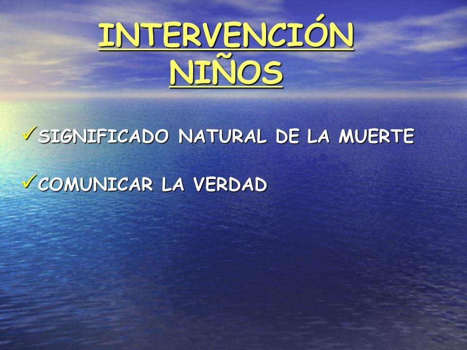 INTERVENCIÓN NIÑOS SIGNIFICADO NATURAL DE LA MUERTE SIGNIFICADO NATURAL DE LA MUERTE COMUNICAR LA VERDAD COMUNICAR LA VERDAD