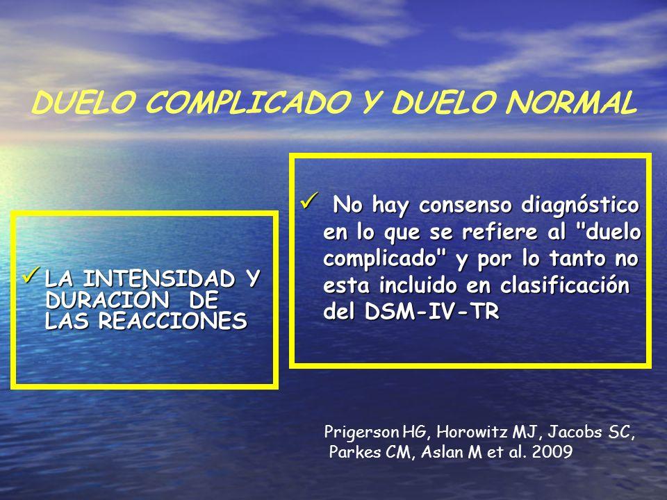 DUELO COMPLICADO Y DUELO NORMAL LA INTENSIDAD Y DURACIÓN DE LAS REACCIONES LA INTENSIDAD Y DURACIÓN DE LAS REACCIONES No hay consenso diagnóstico en l