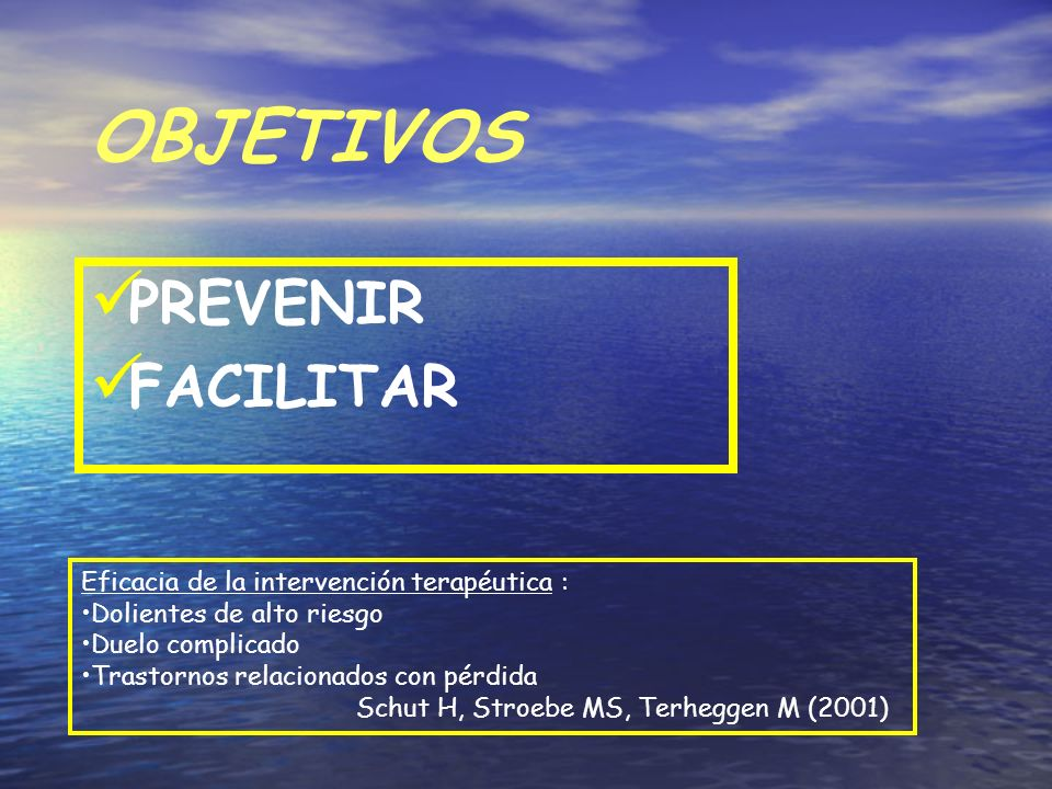 OBJETIVOS PREVENIR FACILITAR Eficacia de la intervención terapéutica : Dolientes de alto riesgo Duelo complicado Trastornos relacionados con pérdida S
