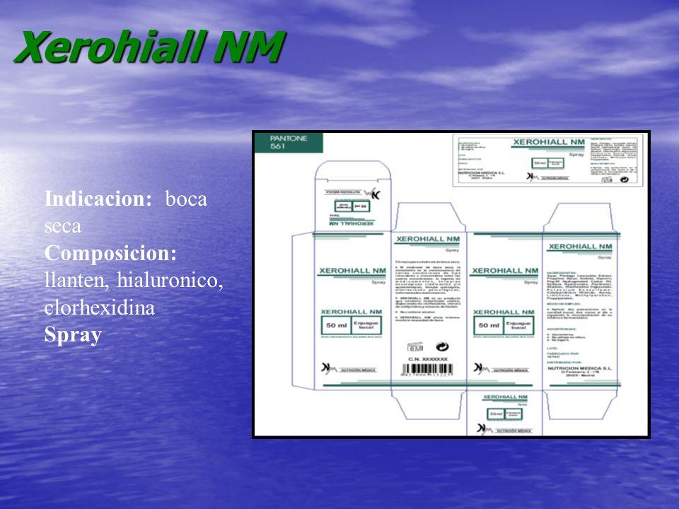 Xerohiall NM Indicacion: boca seca Composicion: llanten, hialuronico, clorhexidina Spray