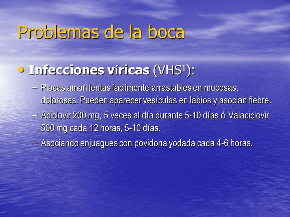 Problemas de la boca Infecciones v í ricas (VHS 1 ): Infecciones v í ricas (VHS 1 ): – Placas amarillentas f á cilmente arrastables en mucosas, doloro