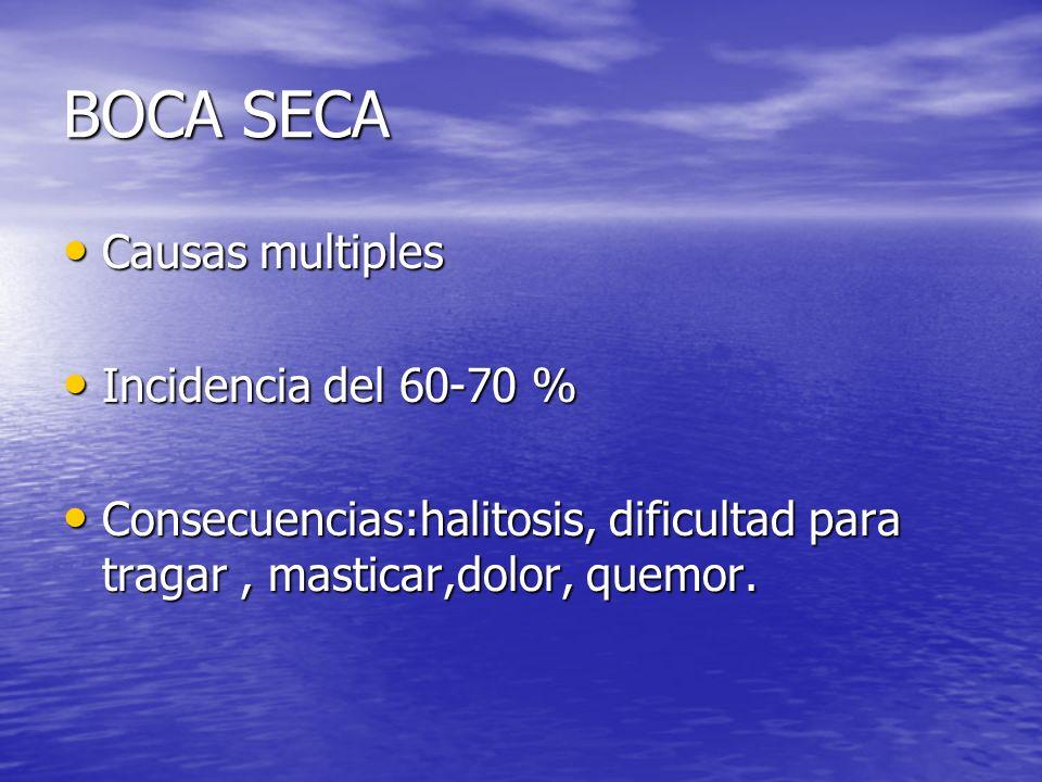 BOCA SECA Causas multiples Causas multiples Incidencia del 60-70 % Incidencia del 60-70 % Consecuencias:halitosis, dificultad para tragar, masticar,do