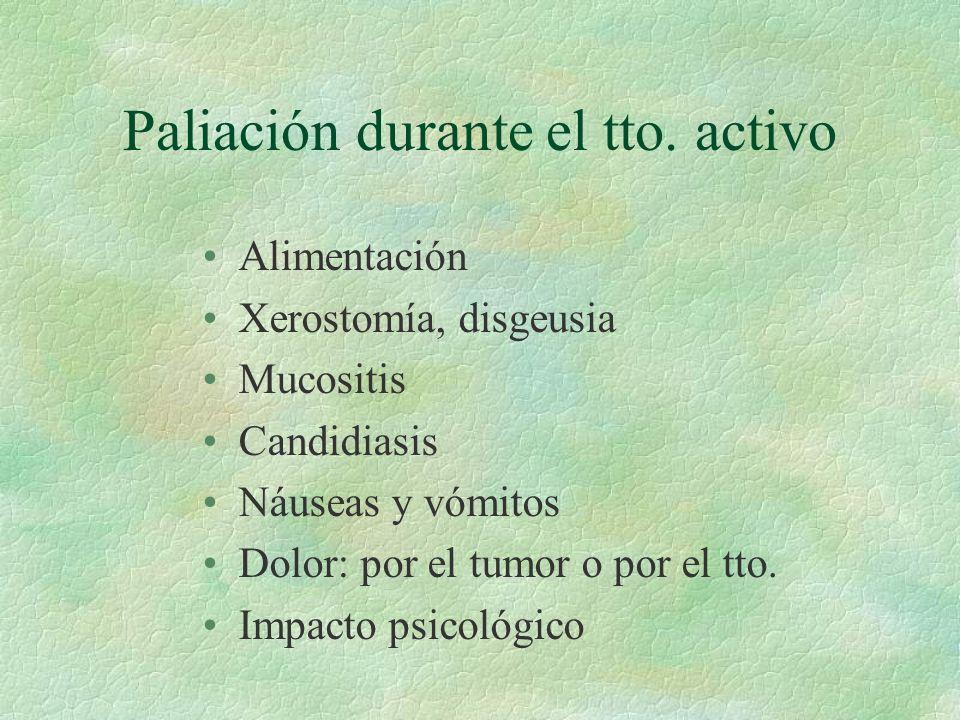 Paliación durante el tto. activo Alimentación Xerostomía, disgeusia Mucositis Candidiasis Náuseas y vómitos Dolor: por el tumor o por el tto. Impacto