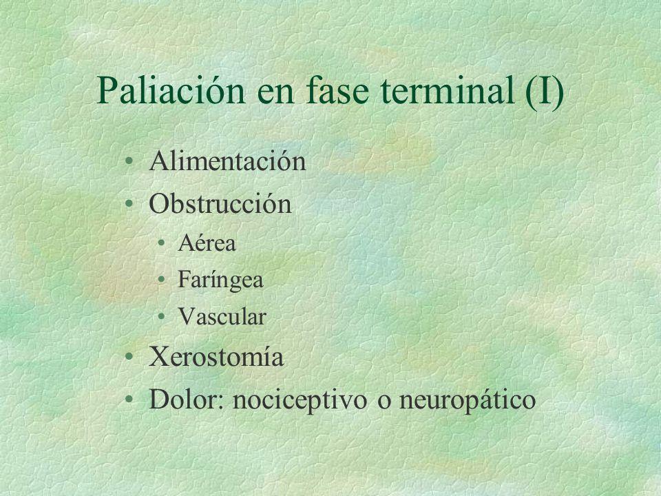 Paliación en fase terminal (I) Alimentación Obstrucción Aérea Faríngea Vascular Xerostomía Dolor: nociceptivo o neuropático