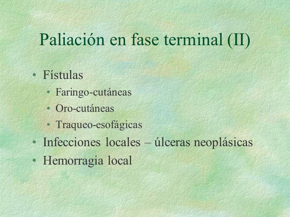 Paliación en fase terminal (II) Fístulas Faringo-cutáneas Oro-cutáneas Traqueo-esofágicas Infecciones locales – úlceras neoplásicas Hemorragia local