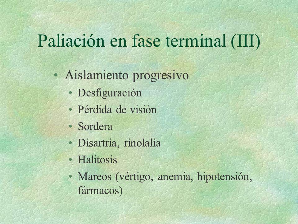 Paliación en fase terminal (III) Aislamiento progresivo Desfiguración Pérdida de visión Sordera Disartria, rinolalia Halitosis Mareos (vértigo, anemia