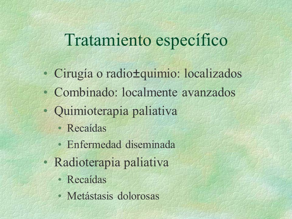 Tratamiento específico Cirugía o radio±quimio: localizados Combinado: localmente avanzados Quimioterapia paliativa Recaídas Enfermedad diseminada Radi