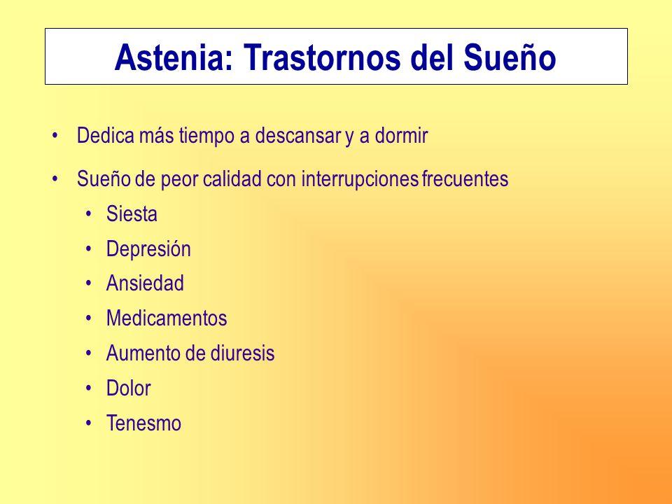 Dedica más tiempo a descansar y a dormir Sueño de peor calidad con interrupciones frecuentes Siesta Depresión Ansiedad Medicamentos Aumento de diuresi