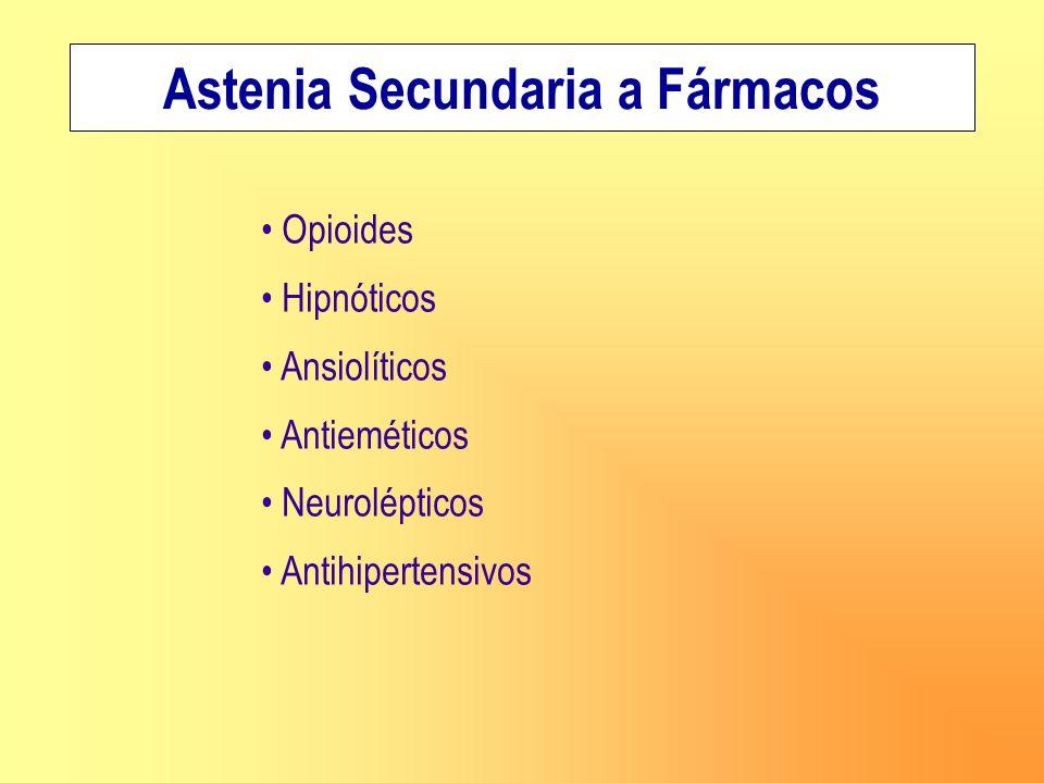 Astenia Secundaria a Fármacos Opioides Hipnóticos Ansiolíticos Antieméticos Neurolépticos Antihipertensivos