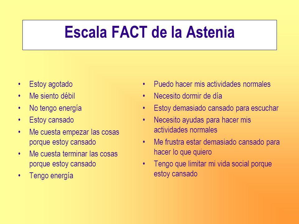 Escala FACT de la Astenia Estoy agotado Me siento débil No tengo energía Estoy cansado Me cuesta empezar las cosas porque estoy cansado Me cuesta term