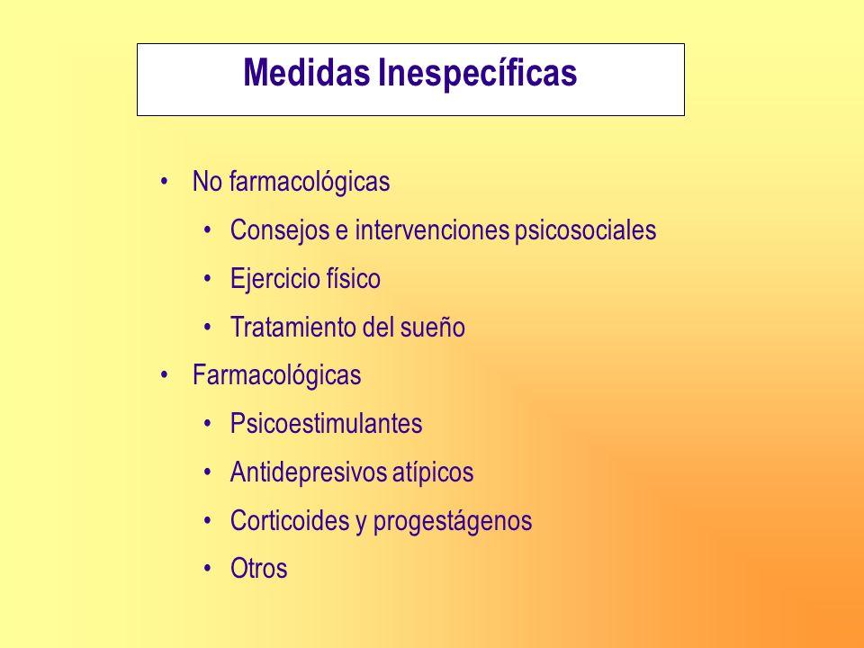 Medidas Inespecíficas No farmacológicas Consejos e intervenciones psicosociales Ejercicio físico Tratamiento del sueño Farmacológicas Psicoestimulante