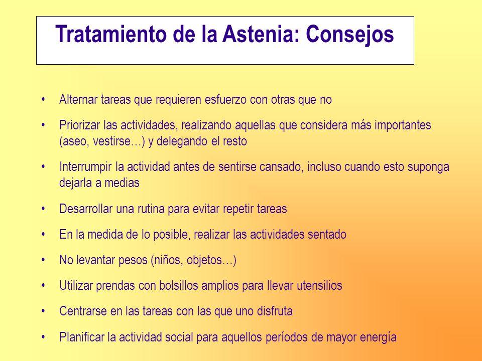 Tratamiento de la Astenia: Consejos Alternar tareas que requieren esfuerzo con otras que no Priorizar las actividades, realizando aquellas que conside