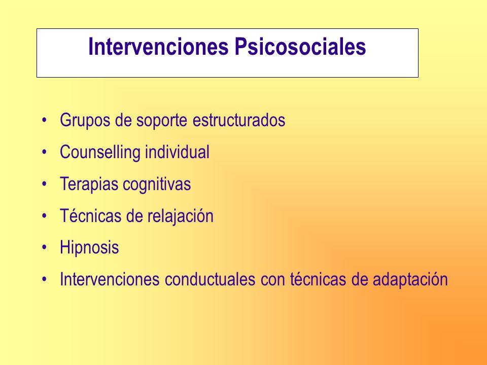 Intervenciones Psicosociales Grupos de soporte estructurados Counselling individual Terapias cognitivas Técnicas de relajación Hipnosis Intervenciones