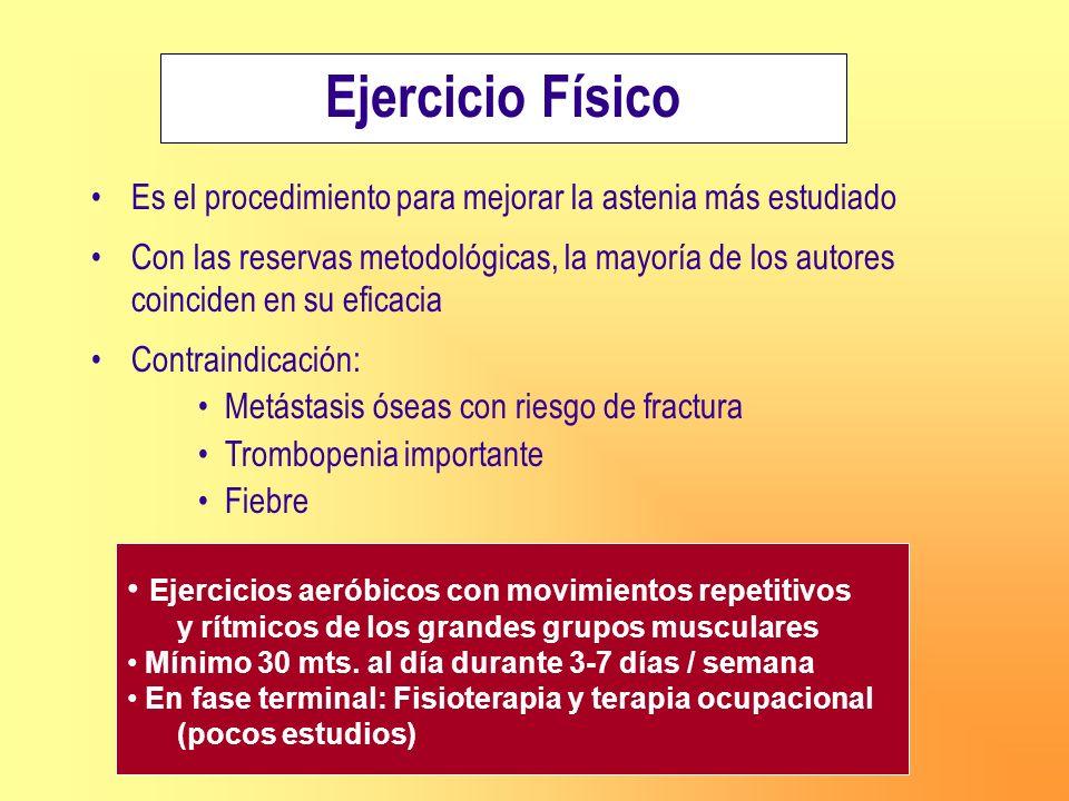 Ejercicio Físico Es el procedimiento para mejorar la astenia más estudiado Con las reservas metodológicas, la mayoría de los autores coinciden en su e