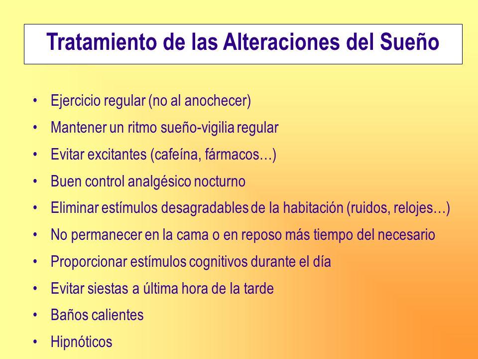 Tratamiento de las Alteraciones del Sueño Ejercicio regular (no al anochecer) Mantener un ritmo sueño-vigilia regular Evitar excitantes (cafeína, fárm