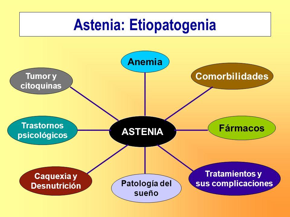 Astenia: Etiopatogenia ASTENIA Trastornos psicológicos Tumor y citoquinas Anemia Caquexia y Desnutrición Tratamientos y sus complicaciones Comorbilida