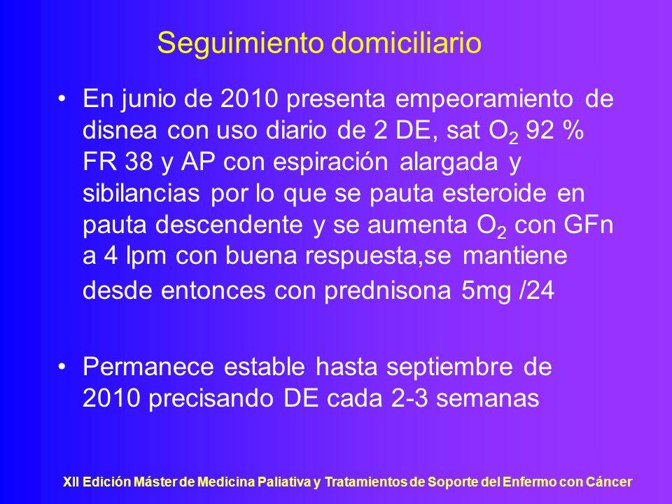 XII Edición Máster de Medicina Paliativa y Tratamientos de Soporte del Enfermo con Cáncer Seguimiento domiciliario En junio de 2010 presenta empeorami
