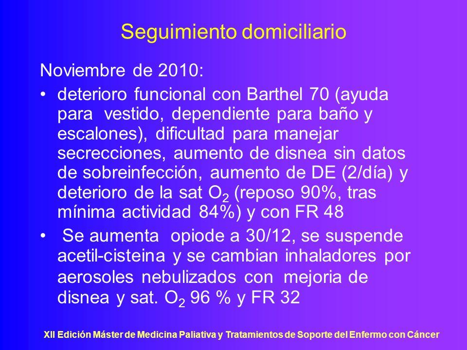 XII Edición Máster de Medicina Paliativa y Tratamientos de Soporte del Enfermo con Cáncer Seguimiento domiciliario Noviembre de 2010: deterioro funcio