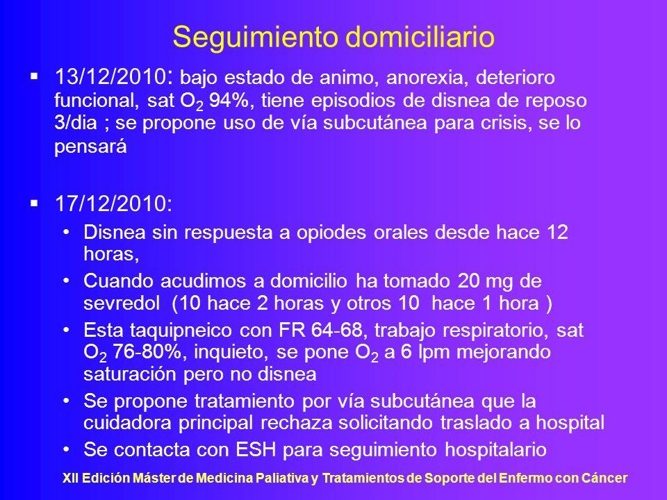XII Edición Máster de Medicina Paliativa y Tratamientos de Soporte del Enfermo con Cáncer Seguimiento domiciliario 13/12/2010 : bajo estado de animo,