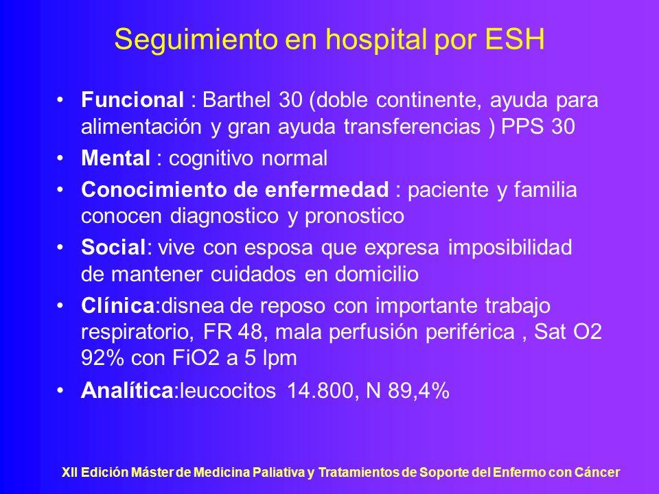 XII Edición Máster de Medicina Paliativa y Tratamientos de Soporte del Enfermo con Cáncer Seguimiento en hospital por ESH Funcional : Barthel 30 (dobl