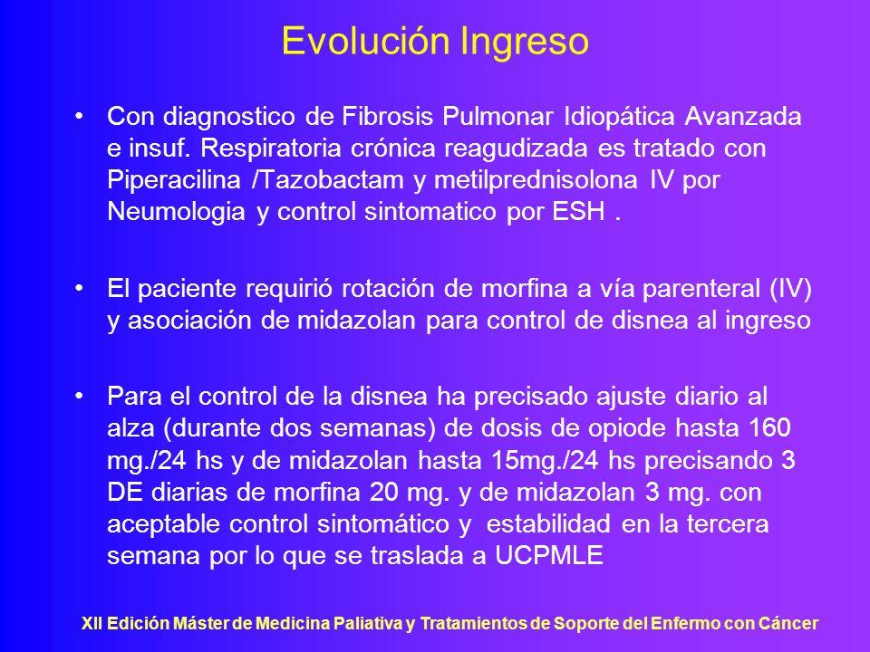XII Edición Máster de Medicina Paliativa y Tratamientos de Soporte del Enfermo con Cáncer Evolución Ingreso Con diagnostico de Fibrosis Pulmonar Idiop
