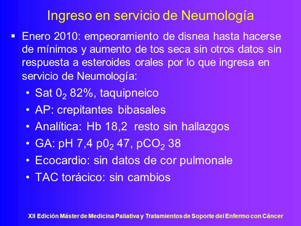 XII Edición Máster de Medicina Paliativa y Tratamientos de Soporte del Enfermo con Cáncer Ingreso en servicio de Neumología Enero 2010: empeoramiento