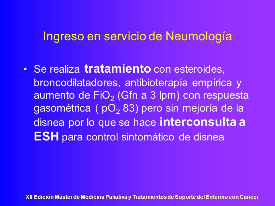 XII Edición Máster de Medicina Paliativa y Tratamientos de Soporte del Enfermo con Cáncer Ingreso en servicio de Neumología Se realiza tratamiento con