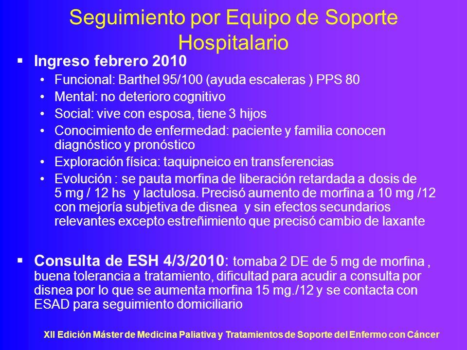 XII Edición Máster de Medicina Paliativa y Tratamientos de Soporte del Enfermo con Cáncer Valoración inicial por ESAD Tratamiento :O 2 a 3,5 lpm 24 hs., spiriva 1/12, seretide 50/500 1/12, omeprazol 20 1/24, MST 15 mg/12, sevredol 10 mg ½ s.p (2 DE /dia), no toma laxante Funcional : Barthel 90/100 (ayuda escalones y dependiente para baño) PPS 60 (movilidad reducida y ayuda ocasional ) Social: relación disfuncional con esposa Mental: MMSE 30/23 Conocimiento de enfermedad: conoce diagnóstico, no pronóstico Instrucciones previas : si empeora desea traslado a Hospital de Agudos Anamnesis:disnea de reposo, xerostomía, estreñimiento, niega alucinaciones Exploración física: FR 40, FC 84, sat O 2 95%, TA 110/70, consciente y orientado, normocoloreado, normohidratado, no ingurgitación yugular, cándida oral, AC: rítmico sin soplos, AP: hipofonesis generalizada, crepitantes bibasales de despegamiento, Abdomen: RHA normales, blando, depresible, no doloroso, sin masa ni megalias, MMII: no edemas no signos de TVP pulsos pedios positivos simétricos, Neurológico: normal no mioclonias