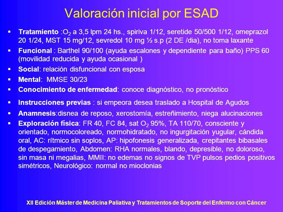 XII Edición Máster de Medicina Paliativa y Tratamientos de Soporte del Enfermo con Cáncer Valoración inicial por ESAD Tratamiento :O 2 a 3,5 lpm 24 hs