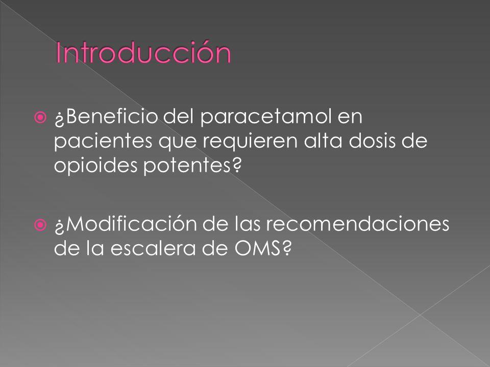 ¿Beneficio del paracetamol en pacientes que requieren alta dosis de opioides potentes? ¿Modificación de las recomendaciones de la escalera de OMS?