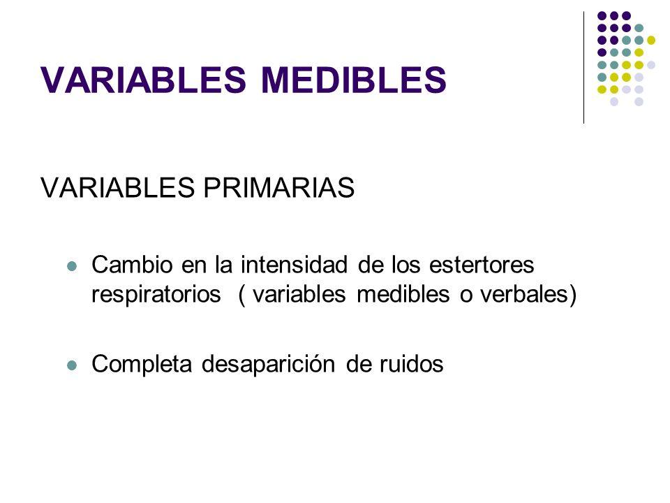 VARIABLES MEDIBLES VARIABLES PRIMARIAS Cambio en la intensidad de los estertores respiratorios ( variables medibles o verbales) Completa desaparición