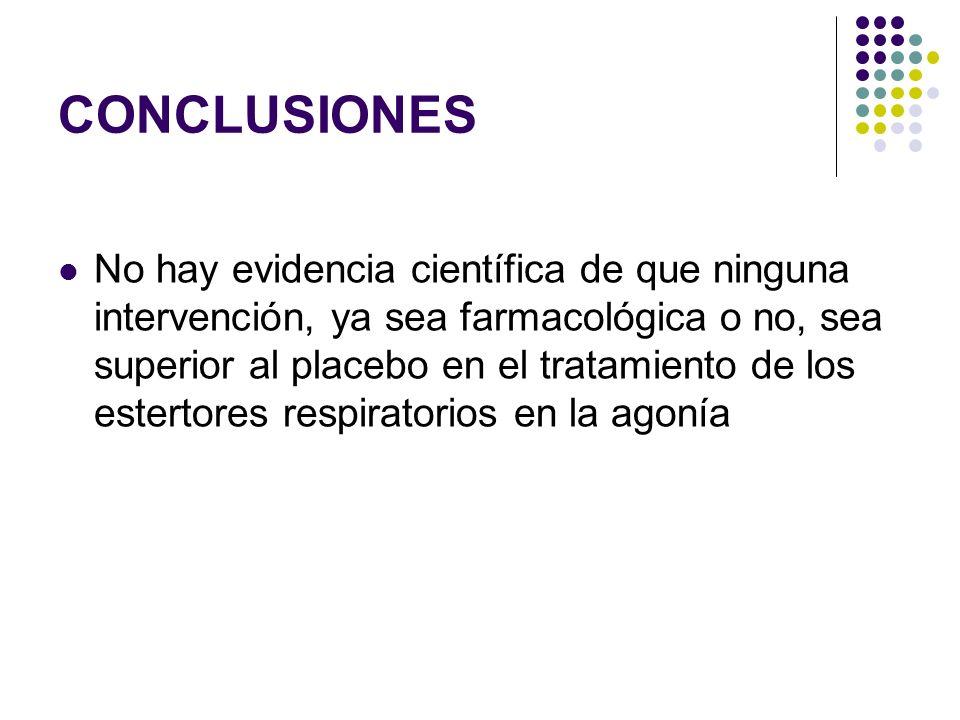 CONCLUSIONES No hay evidencia científica de que ninguna intervención, ya sea farmacológica o no, sea superior al placebo en el tratamiento de los este