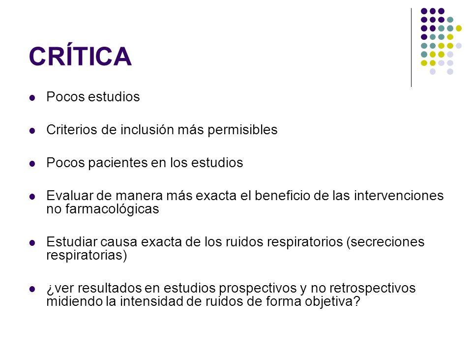 CRÍTICA Pocos estudios Criterios de inclusión más permisibles Pocos pacientes en los estudios Evaluar de manera más exacta el beneficio de las interve