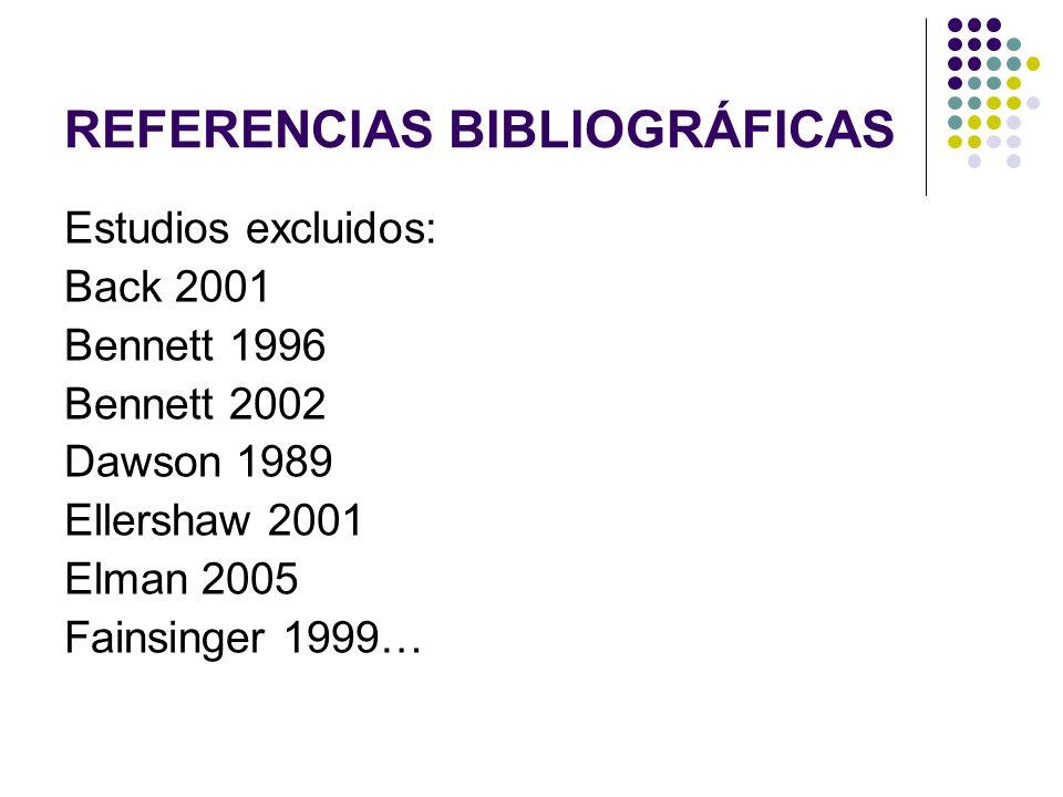 REFERENCIAS BIBLIOGRÁFICAS Estudios excluidos: Back 2001 Bennett 1996 Bennett 2002 Dawson 1989 Ellershaw 2001 Elman 2005 Fainsinger 1999…