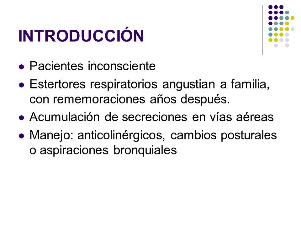INTRODUCCIÓN Pacientes inconsciente Estertores respiratorios angustian a familia, con rememoraciones años después. Acumulación de secreciones en vías