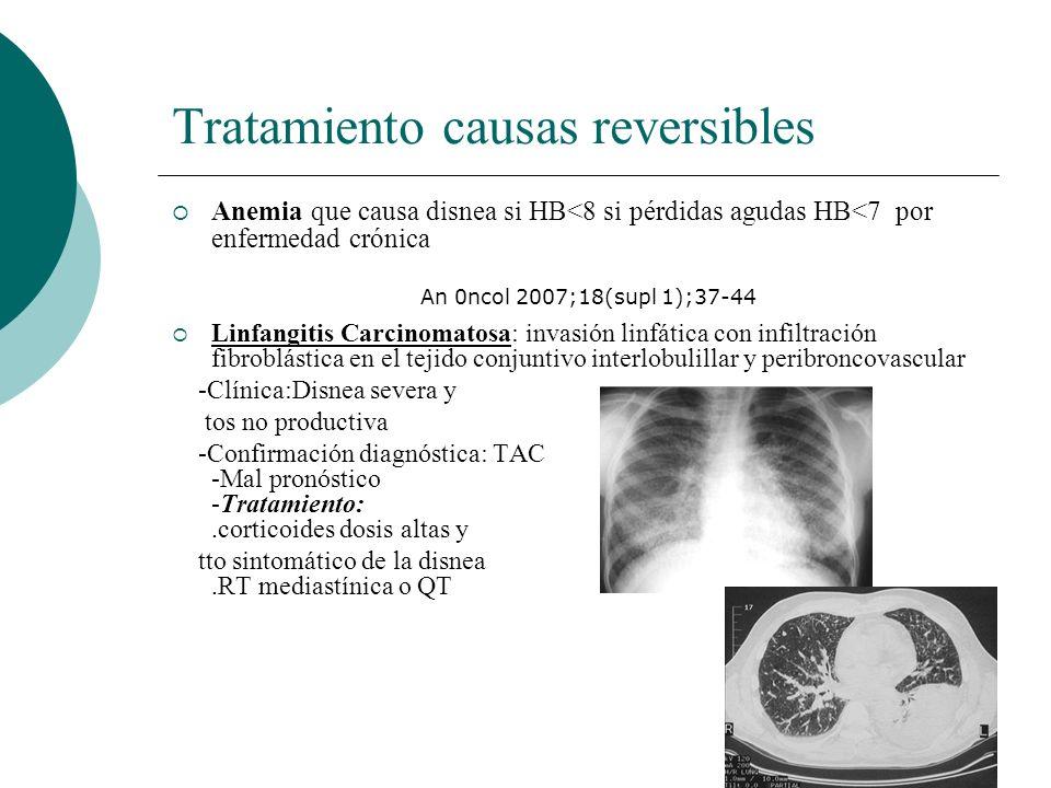 Tratamiento causas reversibles Anemia que causa disnea si HB<8 si pérdidas agudas HB<7 por enfermedad crónica Linfangitis Carcinomatosa: invasión linf