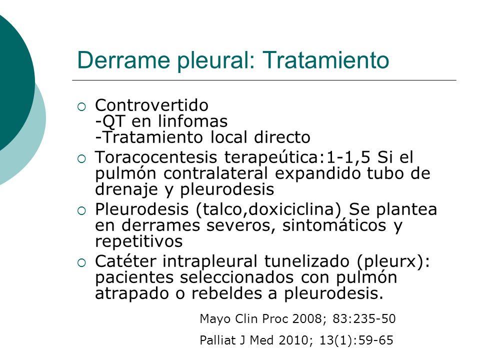 Derrame pleural: Tratamiento Controvertido -QT en linfomas -Tratamiento local directo Toracocentesis terapeútica:1-1,5 Si el pulmón contralateral expa