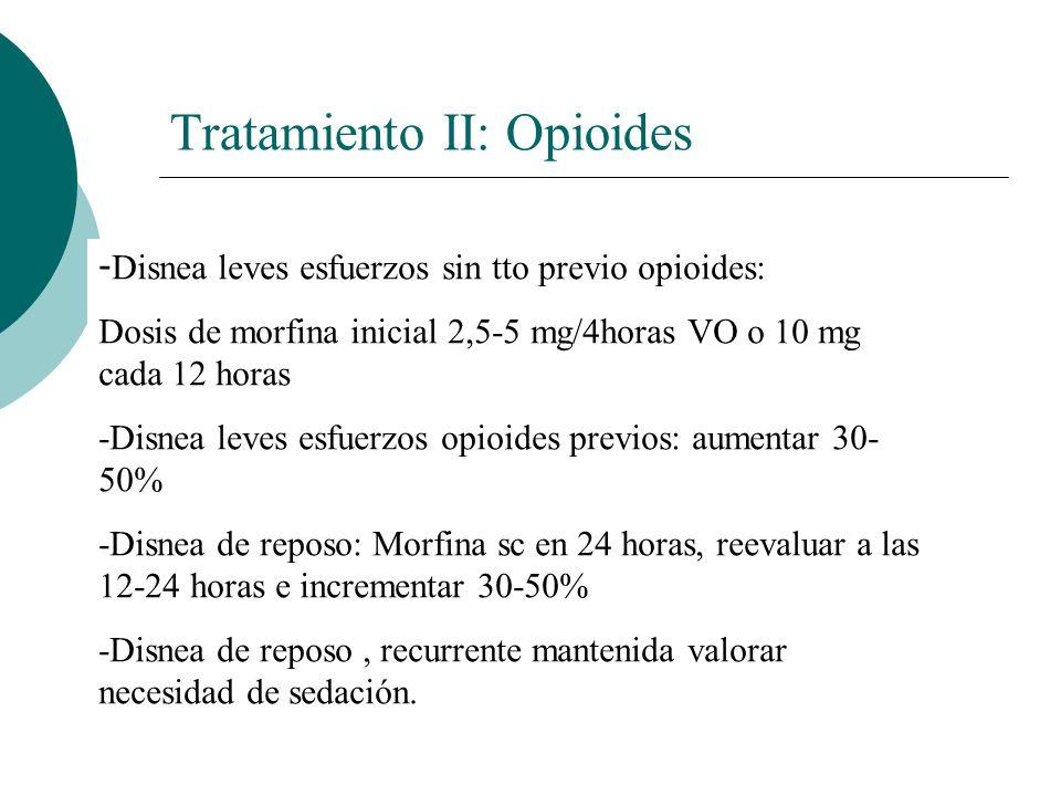 Tratamiento II: Opioides - Disnea leves esfuerzos sin tto previo opioides: Dosis de morfina inicial 2,5-5 mg/4horas VO o 10 mg cada 12 horas -Disnea l