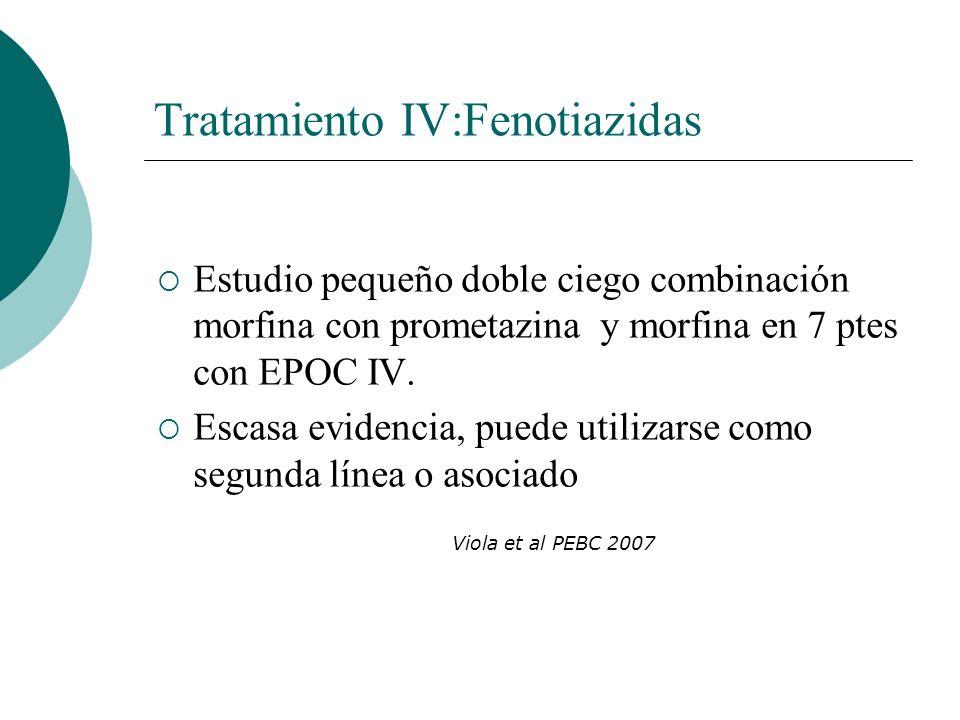 Tratamiento IV:Fenotiazidas Estudio pequeño doble ciego combinación morfina con prometazina y morfina en 7 ptes con EPOC IV. Escasa evidencia, puede u