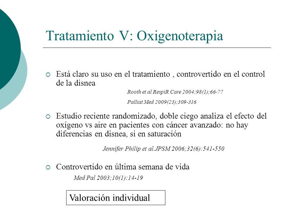 Tratamiento V: Oxigenoterapia Está claro su uso en el tratamiento, controvertido en el control de la disnea Estudio reciente randomizado, doble ciego
