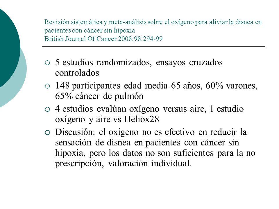 Revisión sistemática y meta-análisis sobre el oxígeno para aliviar la disnea en pacientes con cáncer sin hipoxia British Journal Of Cancer 2008;98:294