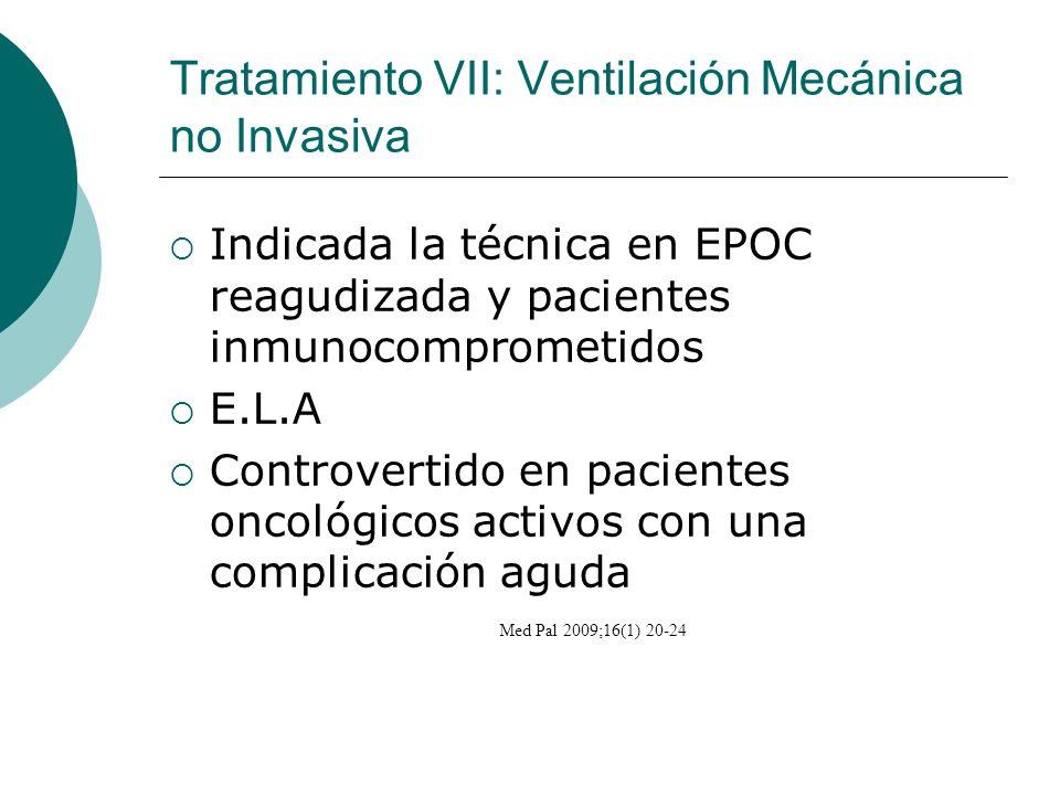 Tratamiento VII: Ventilación Mecánica no Invasiva Indicada la técnica en EPOC reagudizada y pacientes inmunocomprometidos E.L.A Controvertido en pacie
