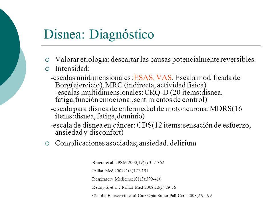 Disnea: Diagnóstico Valorar etiología: descartar las causas potencialmente reversibles. Intensidad: -escalas unidimensionales :ESAS, VAS, Escala modif