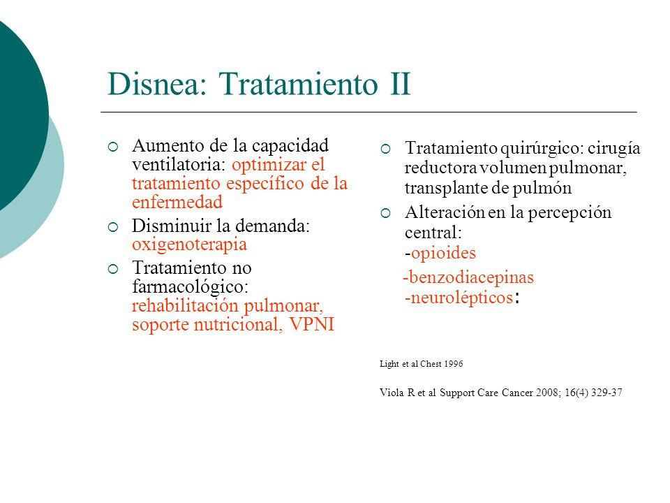 Disnea: Tratamiento II Aumento de la capacidad ventilatoria: optimizar el tratamiento específico de la enfermedad Disminuir la demanda: oxigenoterapia