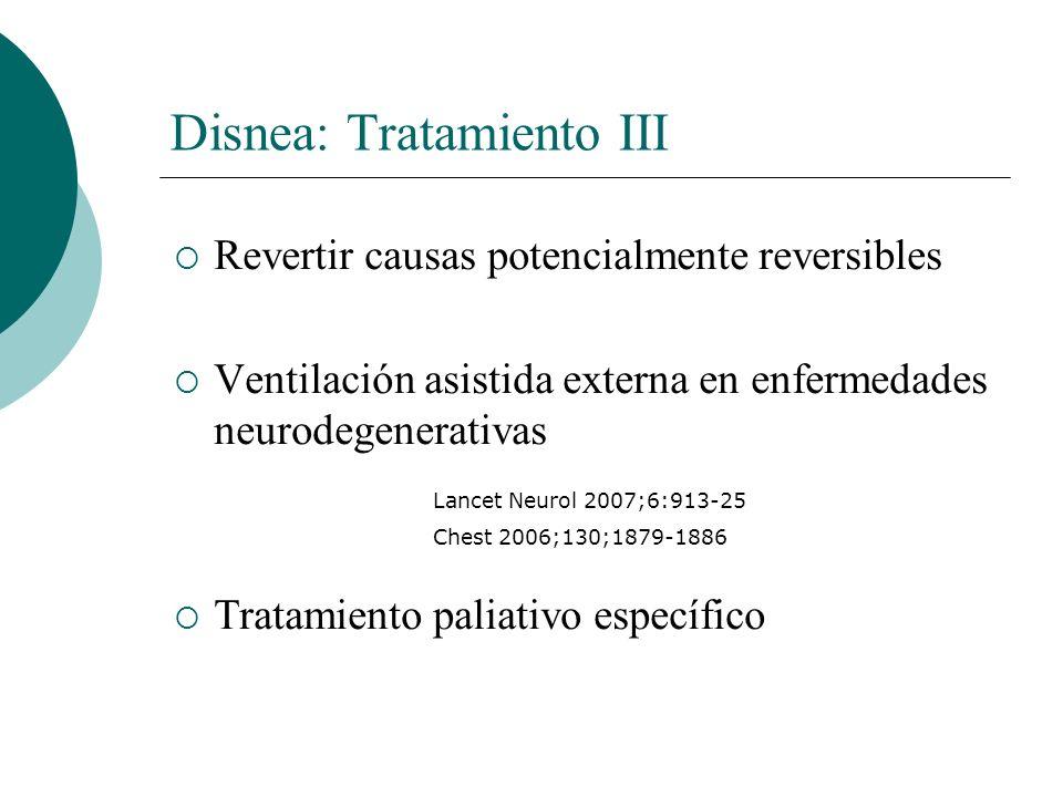 Disnea: Tratamiento III Revertir causas potencialmente reversibles Ventilación asistida externa en enfermedades neurodegenerativas Tratamiento paliati